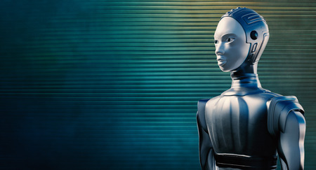 Close up portrait of female robot in chrome suit  against reflective blue and green steel background. Zdjęcie Seryjne