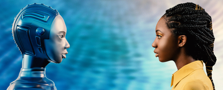 Side view portrait of attractive young African woman looking at robot avatar. Two females looking at each other against blue background.