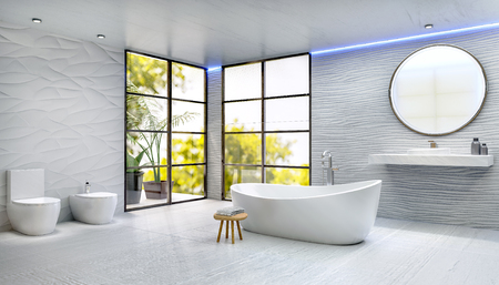 3D illustration of modern bathroom with rounded bathtub. Ceramic sink and round mirror with textured sand dune tiles. Rough white floor tiles. Bath next to windows with trees in background. Zdjęcie Seryjne
