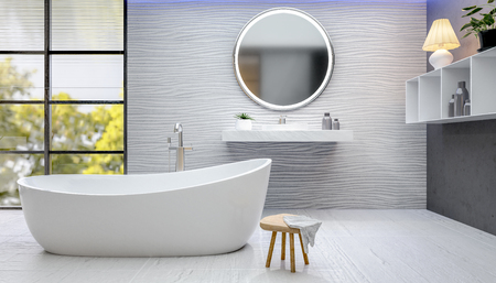3D illustration of modern bathroom with rounded bathtub. Rough textured wall and floor tiles. White bath next to window with trees in background.