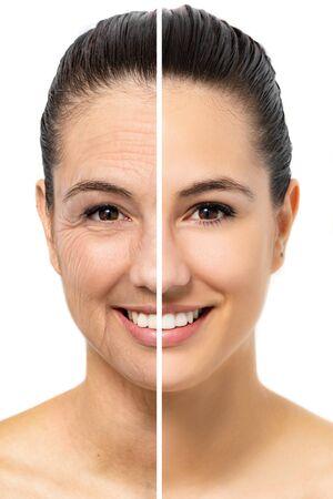 Nahaufnahme des Gesichtsschussvergleichs der jungen Frau, die Hautalterung zeigt. Die Hälfte des Gesichts mit junger und gesunder Haut neben der anderen Hälfte mit faltiger alter Haut. Isoliert auf weißem Hintergrund. Standard-Bild