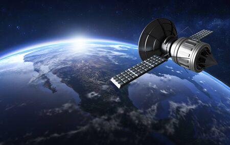3D illustration of GPS satellite antenna in orbit around the world.