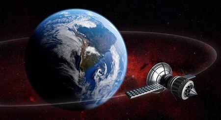 3D render of satellite spaceship orbiting planet earth with reddish cosmos background. Zdjęcie Seryjne