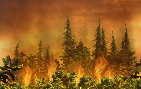 Conceptual 3D illustration of forest burning. Dramatic scene of flames consuming trees and plants.