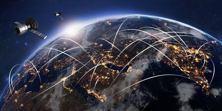 3D illustration of conceptual global communication network. GPS satellite antennas orbiting planet earth.