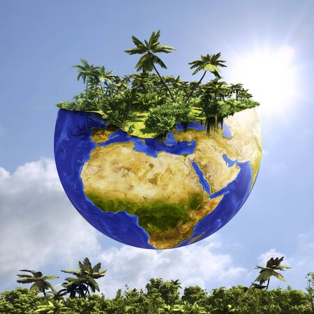 Conceptual 3D illustration of planet earth with green forest on top. Idea of saving the planet with word floating and tropical forest in background.