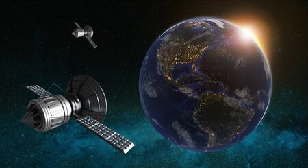 3D illustration of satellites orbiting planet earth. Cyberspace with city lights on American continent. Zdjęcie Seryjne