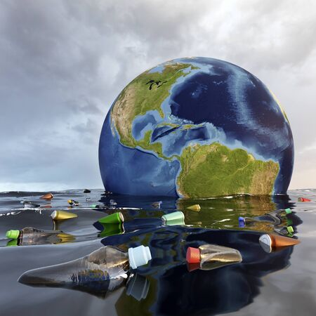 Conceptual 3D illustration of mother earth sinking in ocean. Toxic rubbish and plastic drifting on water surface.