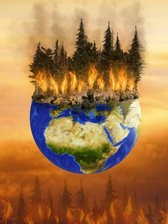 Conceptual 3D illustration of forest burning on planet earth. Huge fire consuming Pine trees on globe.