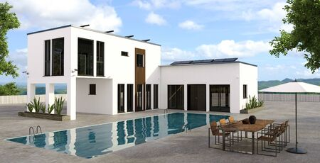 3D illustration of modern luxury house with large rectangular swimming pool. Property equipped with security cameras and solar panels. Wooden table with chairs and sun umbrella next to pool. Zdjęcie Seryjne