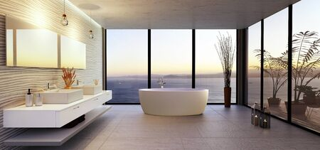 3D illustration of stylish high key bathroom with sea view. Round bath tub with double wash basin and rough textured stone tiles. Sunset illuminating interior with multiple large windows.