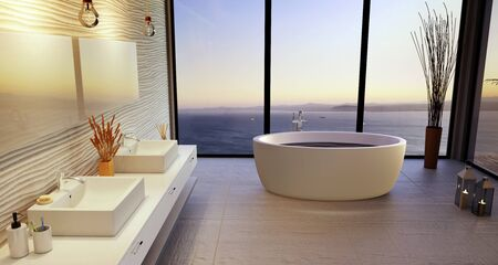 Luxury 3D bathroom illustration with double wash basin. High key ceramic and round bath tub with big windows overlooking the ocean at sunset.