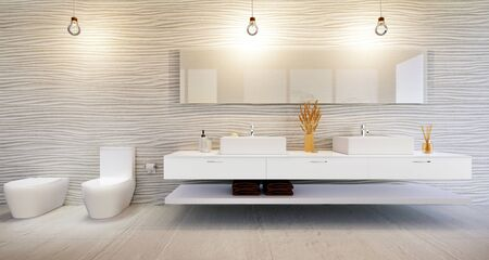 3D render of stylish high key bathroom furniture against rough sand dune wall tile. Double basin with chrome faucets and mirror. Zdjęcie Seryjne