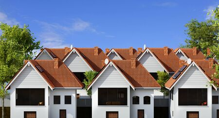 Close up front view of multiple town houses.