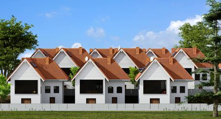Front view of multiple town houses surrounded by green trees and grass lawn. Zdjęcie Seryjne