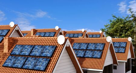 Rooftops of multiple town houses with photovoltaic solar panel equipment for creating clean ecological energy.