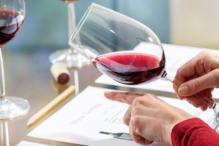 Close up detail of sommelier evaluating red wine density and body at table. Zdjęcie Seryjne