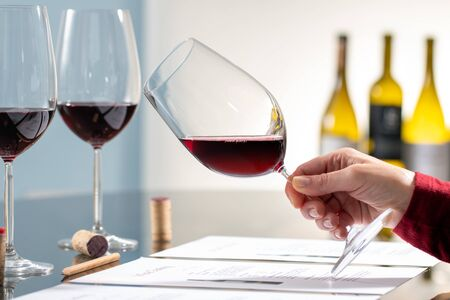 Close up of enologist holding red wine glass at wine tasting. Pencil and documents on table with out of focus bottles in background.  Zdjęcie Seryjne