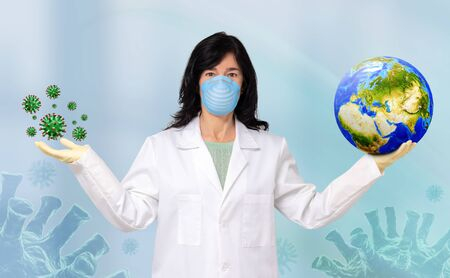 Conceptual portrait of female medical doctor holding planet earth in one hand and 3d microscopical green virus cells in other. Zdjęcie Seryjne