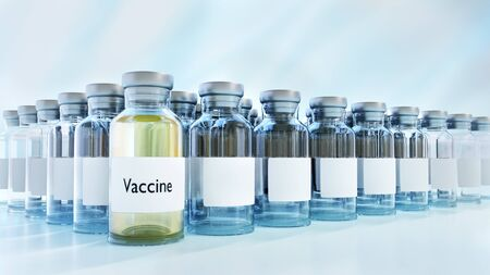 Close up 3D illustration of multiple glass vaccine ampoules against seamless background.
