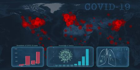Global covid-19 virus outbreak statistics illustration banner. Infection cases and death stats against dark blue world map.