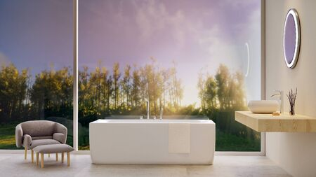 3D illustration detail of stylish bathroom. Bathtub nest to big window with forest view.