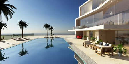 3D illustration of modern luxury house with private swimming pool. Early morning scene with chill out area and palm trees around pool.