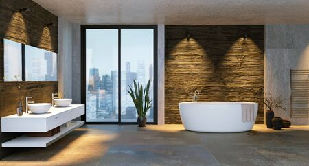 3D illustration of luxury urban bathroom with low key stone textures. City buildings in background through windows. Round bathtub against rough stone textured wall.