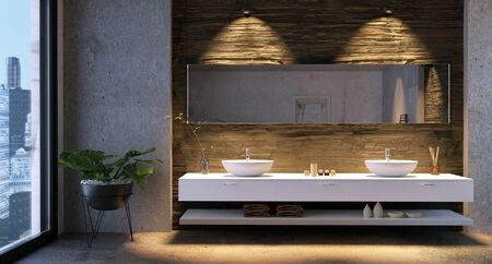 3D illustration of luxury urban bathroom vanity with low key stone textures. City buildings in background through window.