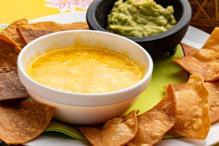Macro close up of appetizing  Mexican casserole with melted cheese, fried crispy nachos and guacamole. Stok Fotoğraf