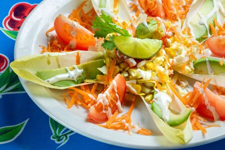 Close up of fresh Mexican salad. Stok Fotoğraf