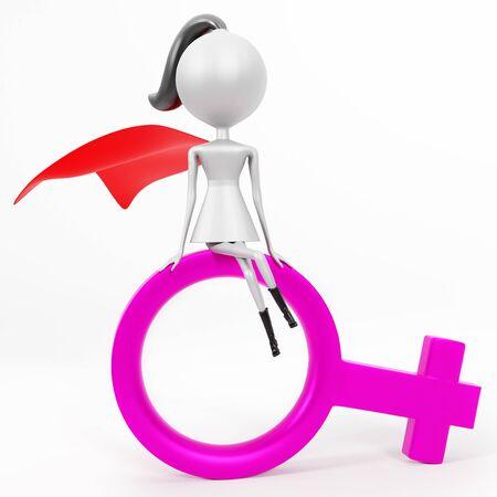3D render of cartoon female superhero character sitting on purple female gender symbol. Isolated on white background. Stok Fotoğraf