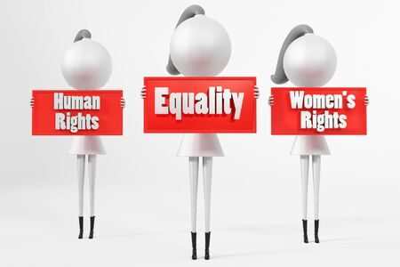 3D render of female cartoon characters holding equality banners with text. Isolated on white background. Stok Fotoğraf