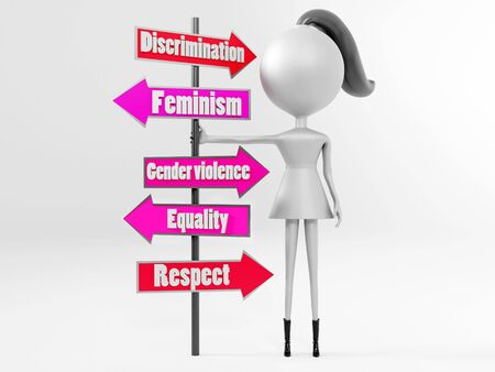 3D illustration of female cartoon character standing next to women's rights text banners. Isolated on white background.