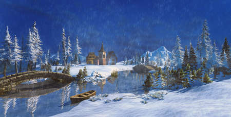 3D illustration of rural snow white winter scene with small village and mountains. Frozen river with stone bridge and pine trees. Stok Fotoğraf - 156584712