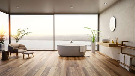 3D illustration of Luxury bathroom with round bath tub and wooden parquet flooring. Furnished room with sea view at sunset. Stok Fotoğraf - 157034074