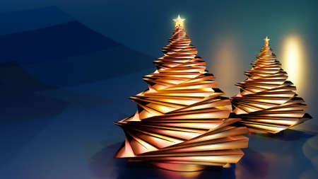 3D render of abstract golden christmas trees with glowing star against dark blue background.