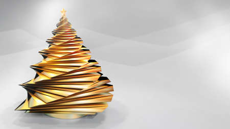 3D render of abstract golden christmas tree against light grey seamless background. Copy space on right side. Reklamní fotografie