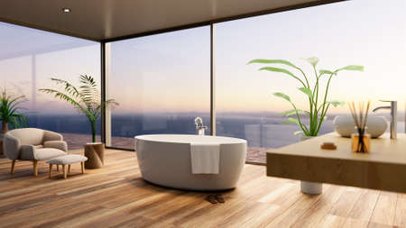 3D illustration of luxurious furbished bathroom with sea view. Sunset scene with round bathtub and wooden parquet flooring.