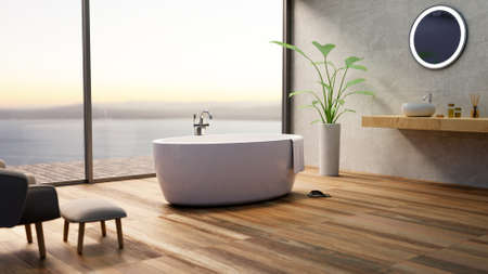 3D render of luxurious furbished bathroom with sea view. Sunset scene with round bathtub and wooden parquet flooring. Reklamní fotografie