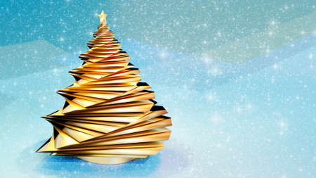 3D render of abstract golden christmas tree. Glittering snowflakes against seamless blue background. Stok Fotoğraf - 157297135