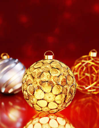 Close up 3D render of decorative gold and silver christmas balls against red background and bokeh with out of focus areas.