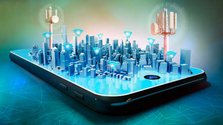 3D illustration of conceptual smart city hologram on smartphone screen. Telecom radio towers and wifi connections between buildings.