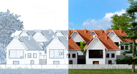 3D rendering of conceptual modern condominium house design. Half pencil outline and half final render. Stockfoto