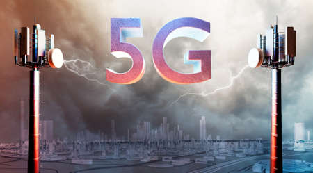 3D illustration of Conceptual 5G telecom antennae with city in background. Lightning rays and dark sky over metropolis.