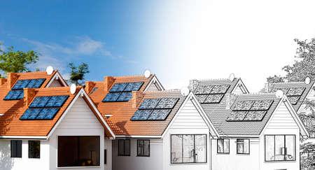 Conceptual 3d illustration Condominium house design with solar panels. Pencil draft fading into final color render.