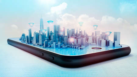 Conceptual 3D render of smart city hologram on smartphone screen. Wifi icons connections between buildings against light blue sky background.