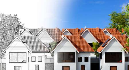 Conceptual 3D illustration of condominium town house design. Pencil draft fading into final color render. Stockfoto