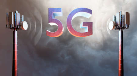 Conceptual 3D illustration of wireless telecom antennae with 5G block letter text against dramatic sky background.