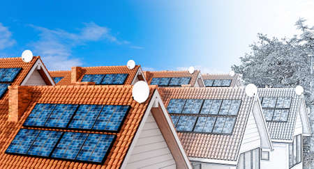 Conceptual 3D illustration of condominium house design with solar panels. Pencil draft fading into final color render. Stockfoto